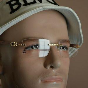 Diamond Cartier C decor wooden Sunglasses